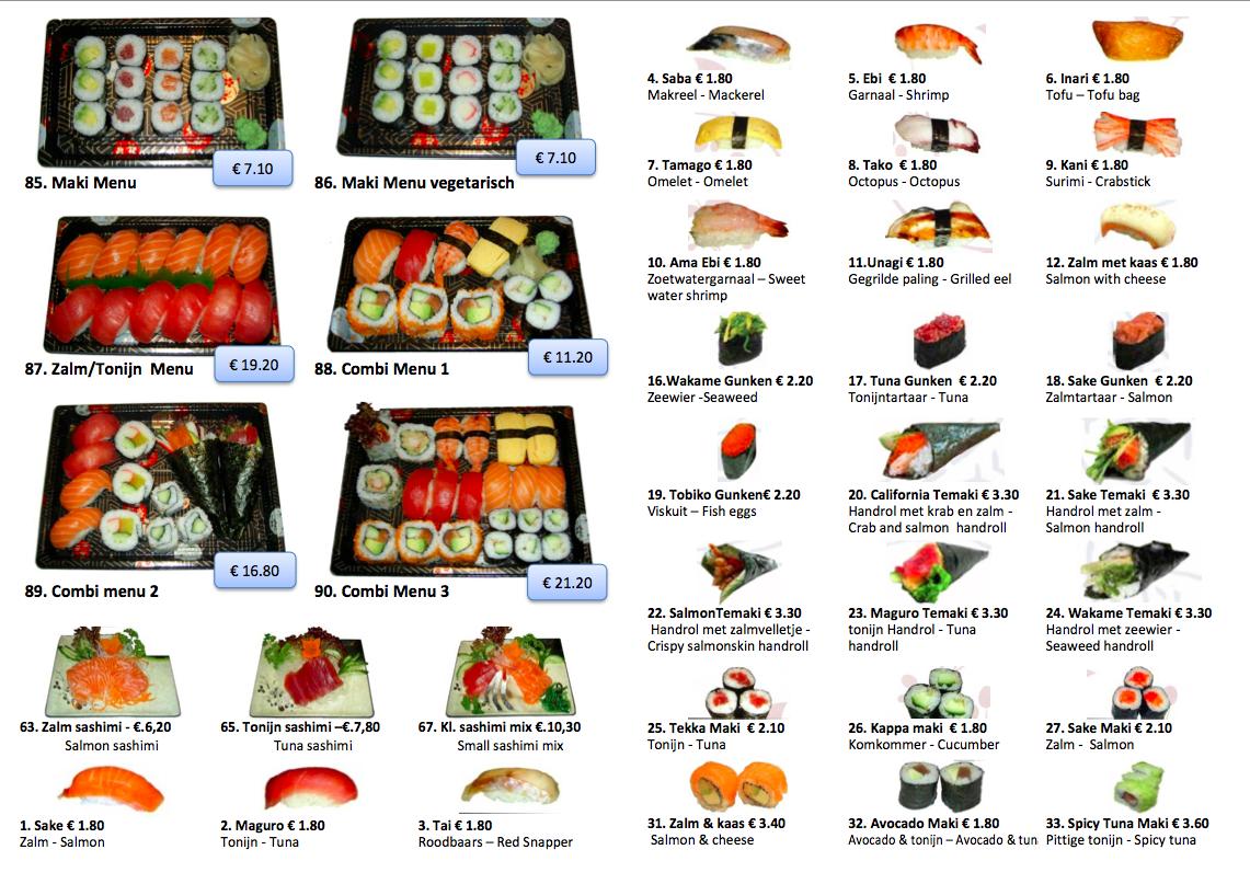 Afhaalmenukaart Sushi